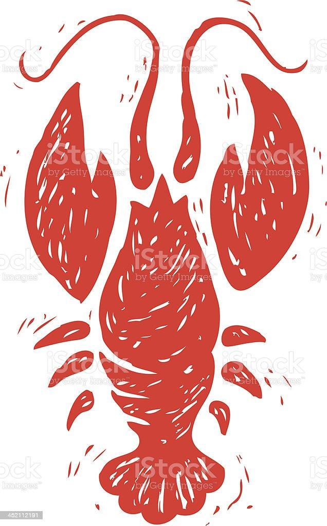 sketchy lobster crawfish vector art illustration