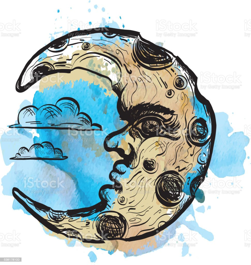 Sketchy man in the moon crescent face on watercolor vector art illustration