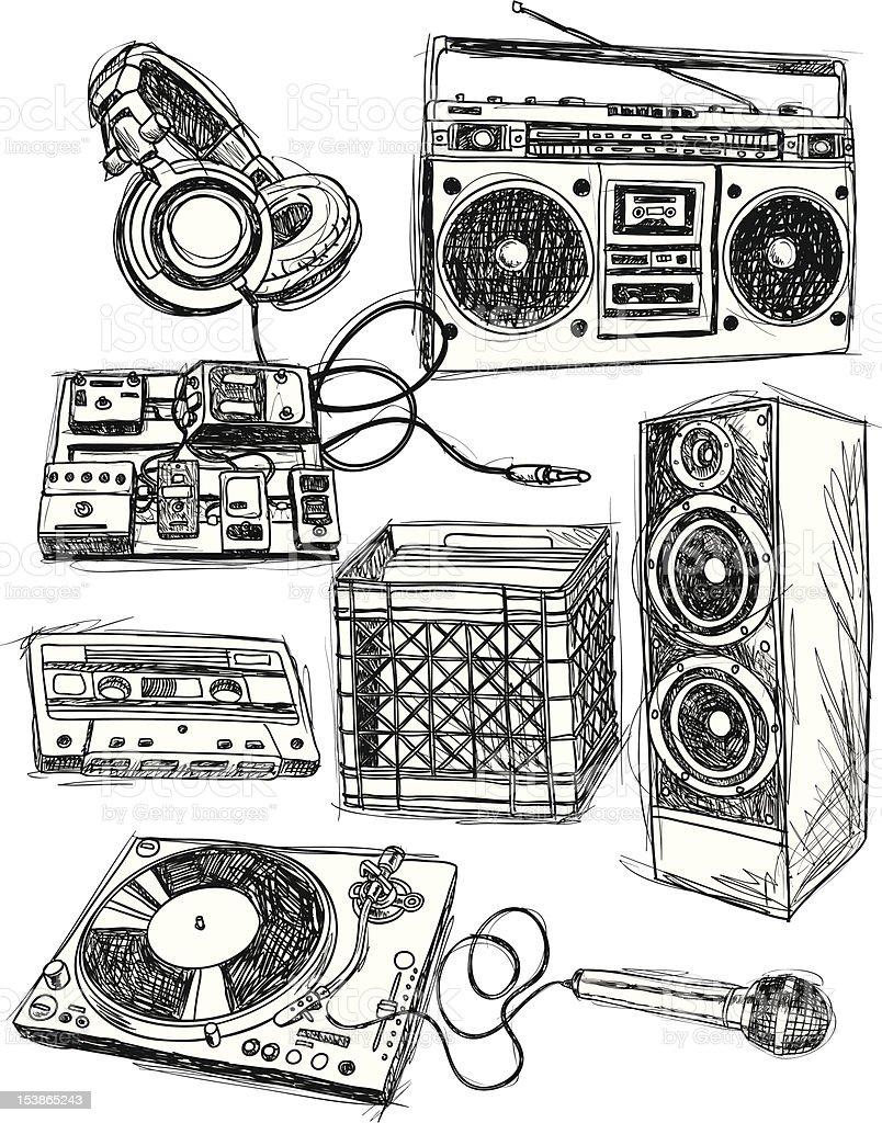 Sketchy Music Elements vector art illustration