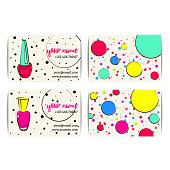 Nail polish business card. Vector set of manicure visit cards. Beauty salon or nail artist design. Isolated collection of fashion templates. Colorful sketchy style. Hand drawn  illustration. EPS10.