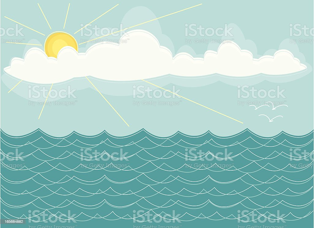 Sketchy Ocean Scene vector art illustration