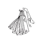 Sketchy of woman with shopping bags