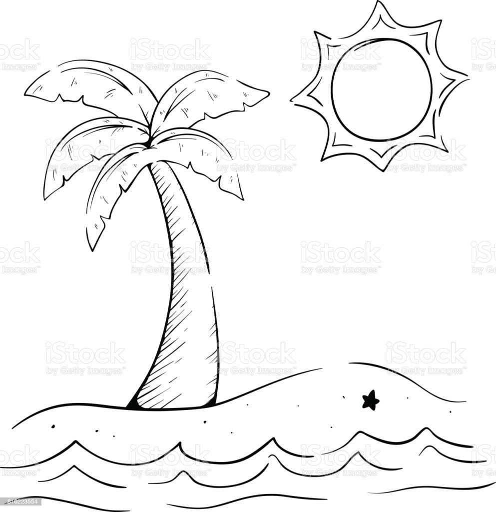 palm tree beach coloring page