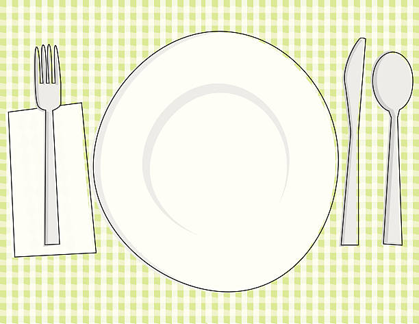 Sketchy Place Setting vector art illustration