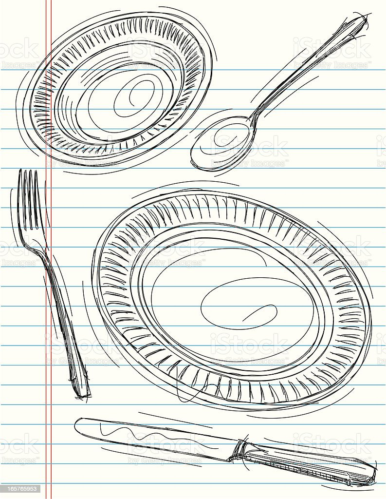 sketchy place setting royalty-free stock vector art