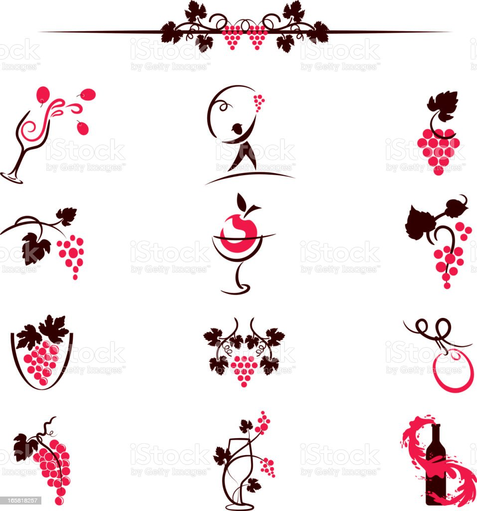 Sketchy Simplistic Wine Elements Computer Icons Illustration royalty-free stock vector art