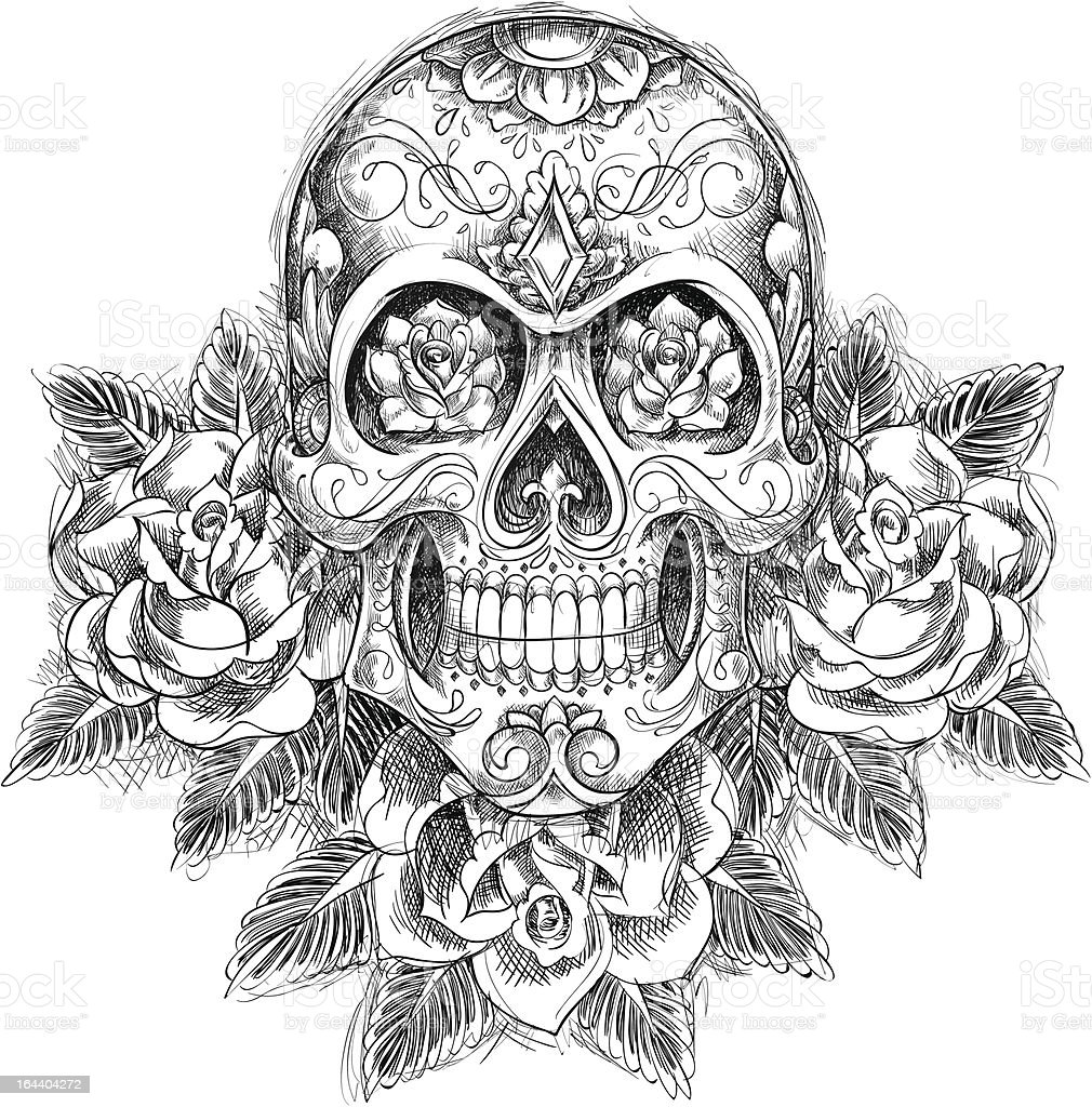 Sketchy Skull with Roses vector art illustration