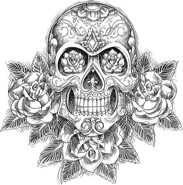 Sketchy Skull with Roses vector art illustration