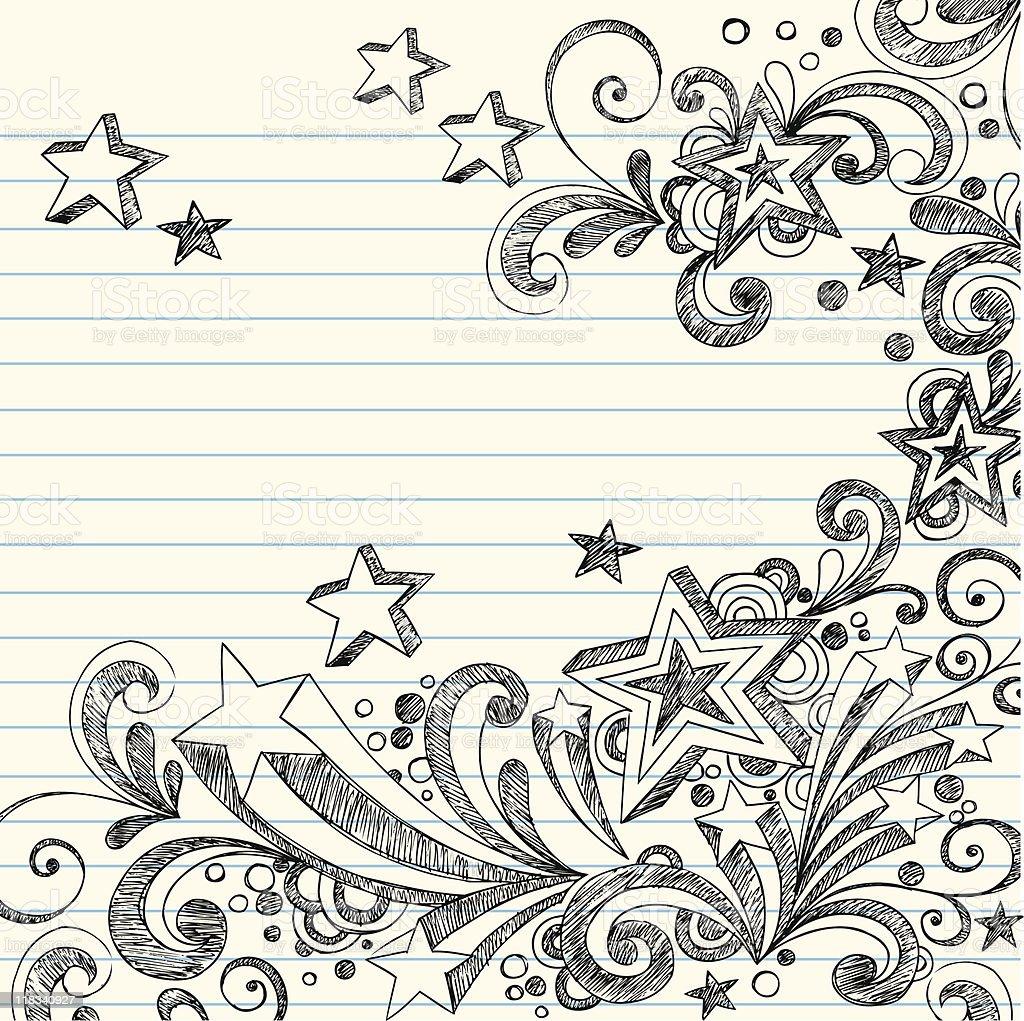 Sketchy Star Doodles on Notebook Paper vector art illustration
