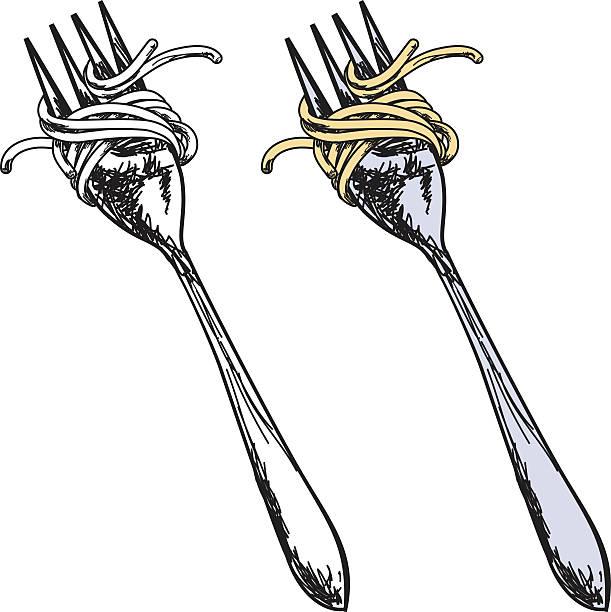 skizzenhafte stil gabel mit spaghetti - spaghetti stock-grafiken, -clipart, -cartoons und -symbole