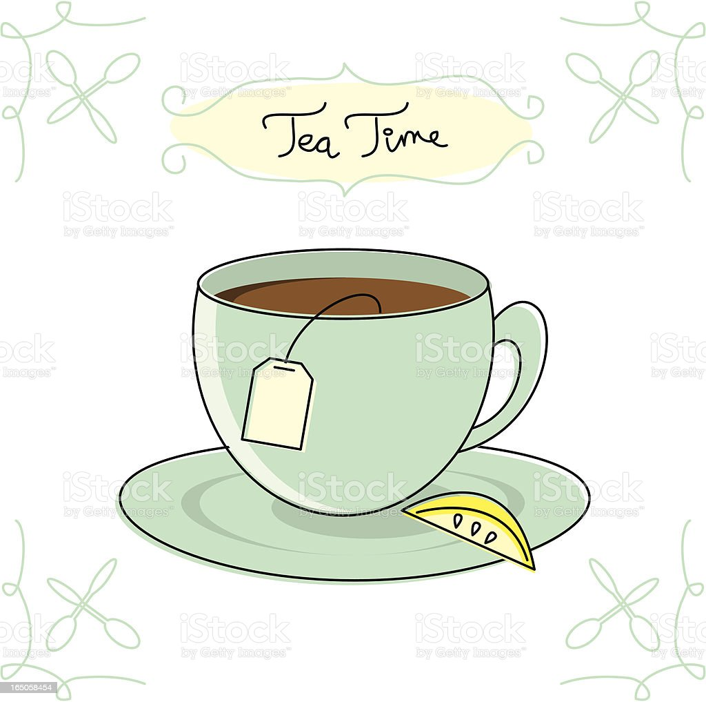 Sketchy Tea Time vector art illustration