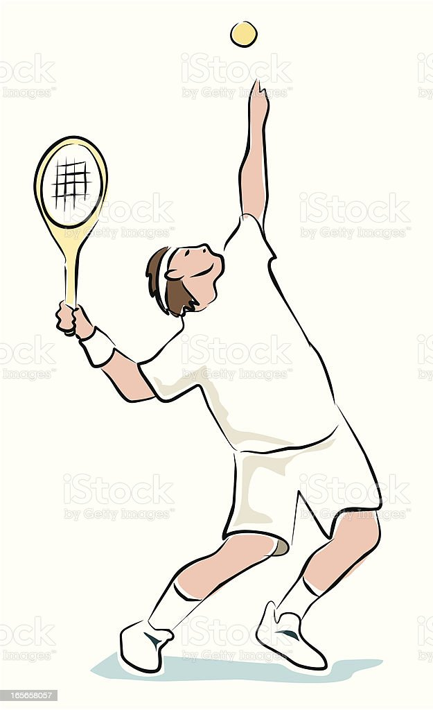 Sketchy Tennis Player royalty-free stock vector art