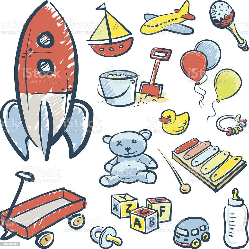 Sketchy toys royalty-free stock vector art