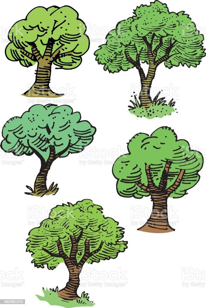 Sketchy tree vector illustrations vector art illustration