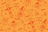 Sketchy Trick or Treaters Halloween Characters Seamless Vector Pattern