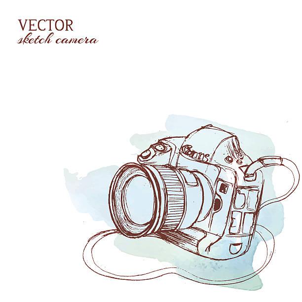 Croquis de vecteur avec l'appareil photo Fond aquarelle - Illustration vectorielle