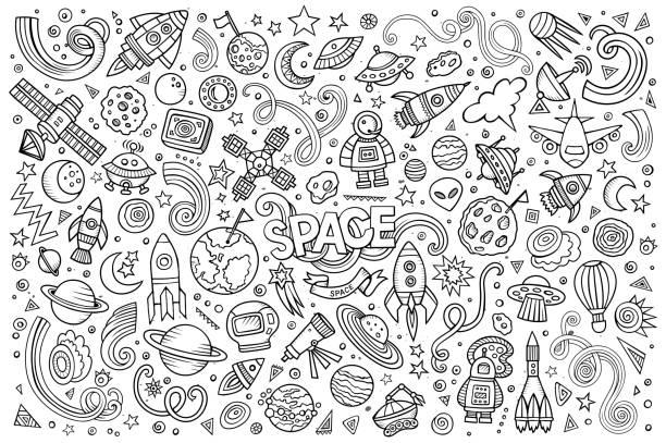 sketchy рисованных мультфильмов вектор каракули набор космических объектов - space background stock illustrations