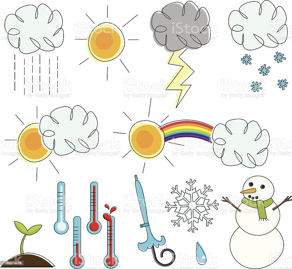 Sketchy Weather vector art illustration