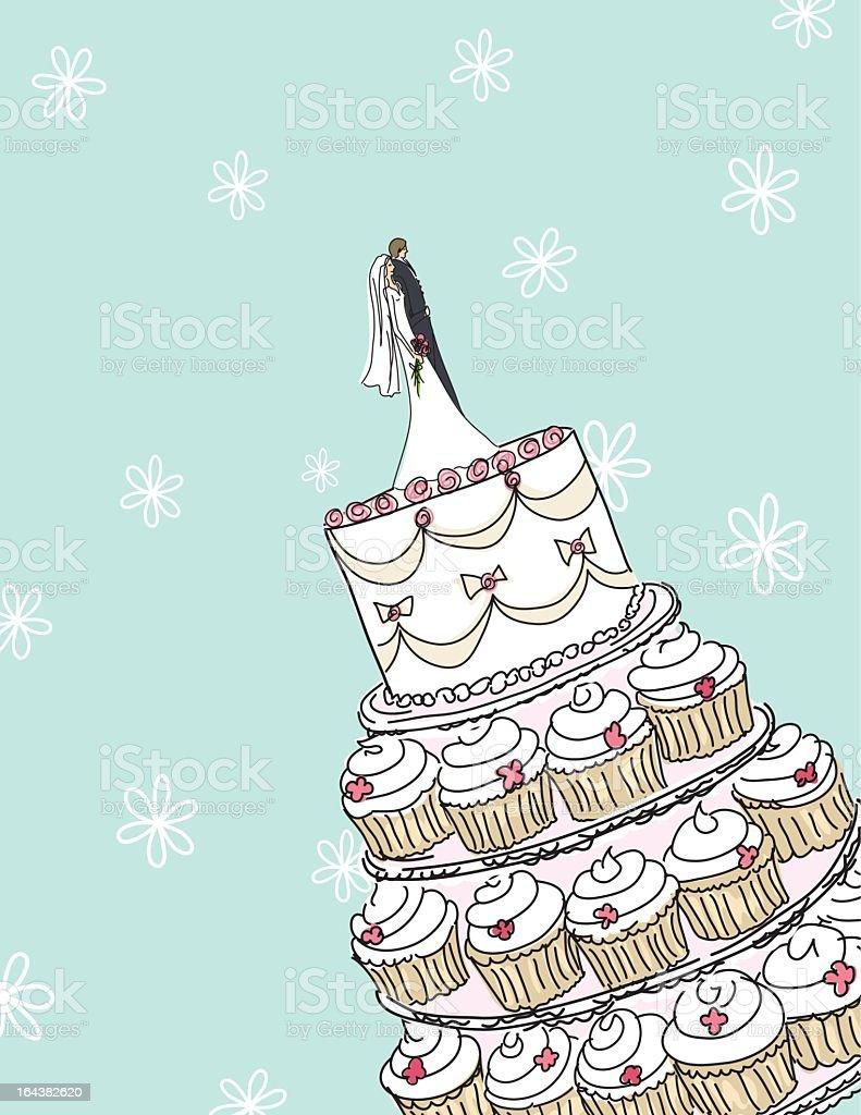 Esboços de bolo de casamento com espaço para texto - ilustração de arte em vetor