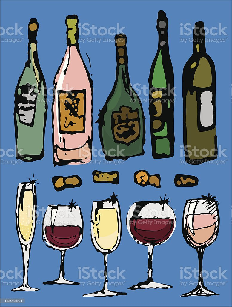 Sketchy Wine royalty-free stock vector art