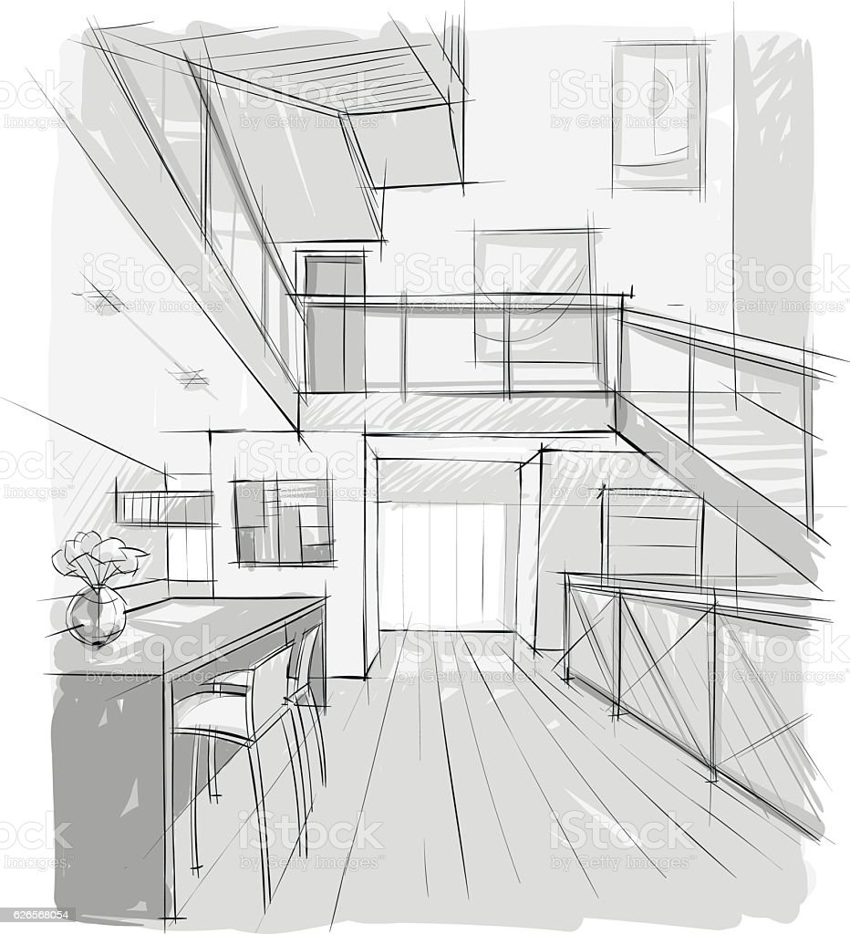 Sketsh of indoor/ Interior of stair and living room vector art illustration