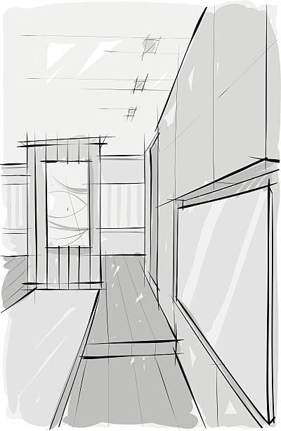sketsh of interior. Living room vector art illustration