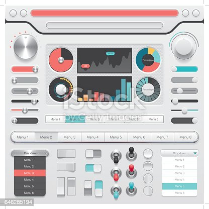 A set of photo-realistic buttons, switches and menu for user interface design.