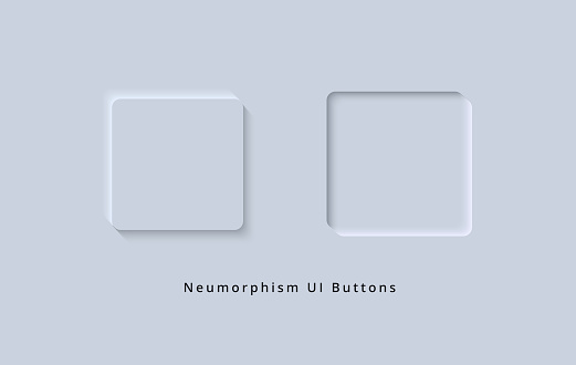 Skeuomorphism and Neumorphism UI Square Button Design of Futuristic 3D effect for White Web and Mobile App buttons
