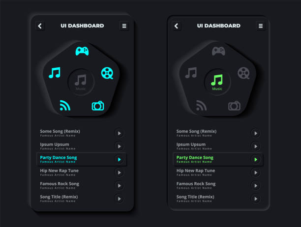 Skeuomorphism or Neumorphism User Interface of Modern Clean Mobile Music Streaming App with 3D Indent Push Button Icons on 3D User Interface Template in Dark Night Mode vector art illustration