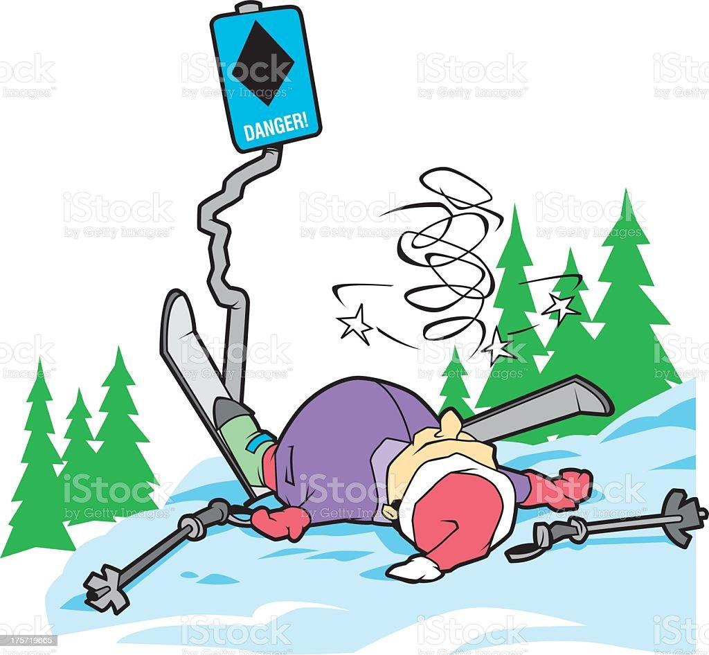 Ski Accident royalty-free stock vector art