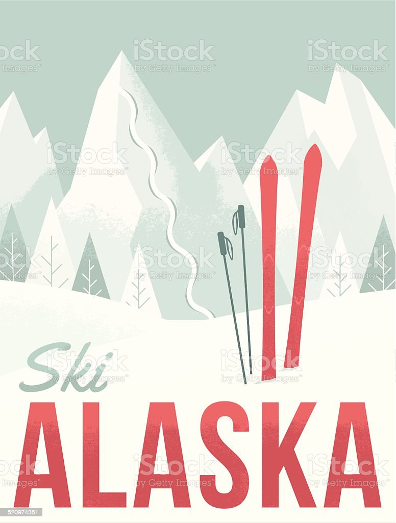 Ski Alaska vector art illustration