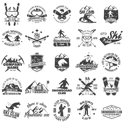 Ski and Snowboard Club emblem. Vector illustration. Concept for shirt, print, stamp, badge or tee. Vintage typography design with snowboarder and skier silhouette. Winter Extreme sport.
