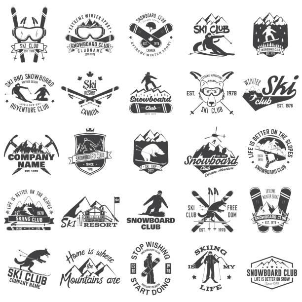 illustrations, cliparts, dessins animés et icônes de emblème de ski et snowboard club. illustration vectorielle - ski