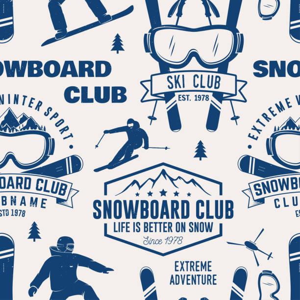 illustrations, cliparts, dessins animés et icônes de ski et snowboard club modèle sans couture. illustration vectorielle - ski