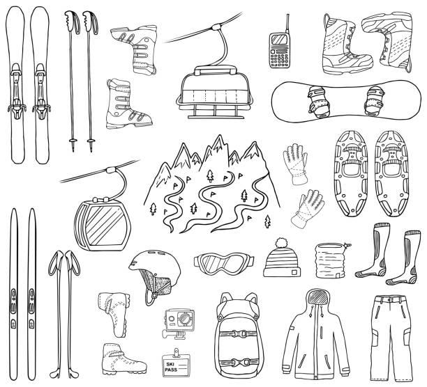 ski- und snowboard-handgezeichnete symbole - funktionsjacke stock-grafiken, -clipart, -cartoons und -symbole