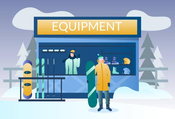 illustrazioni stock, clip art, cartoni animati e icone di tendenza di concetto di vettore di noleggio sci e snowboard per la pagina del sito web banner - negozio sci