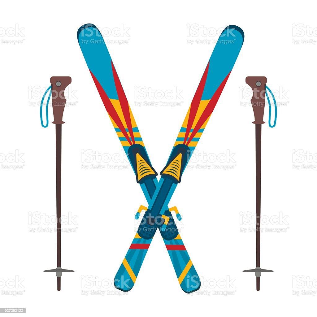 Ski and sticks vector illustration vector art illustration