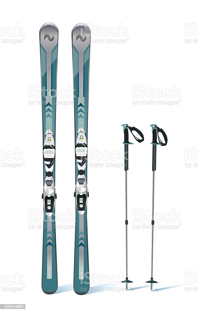 ski and sticks - winter equipment vector art illustration