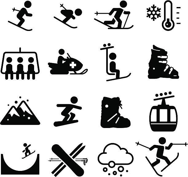 skigebiet-icons-schwarz-serie - skifahren stock-grafiken, -clipart, -cartoons und -symbole