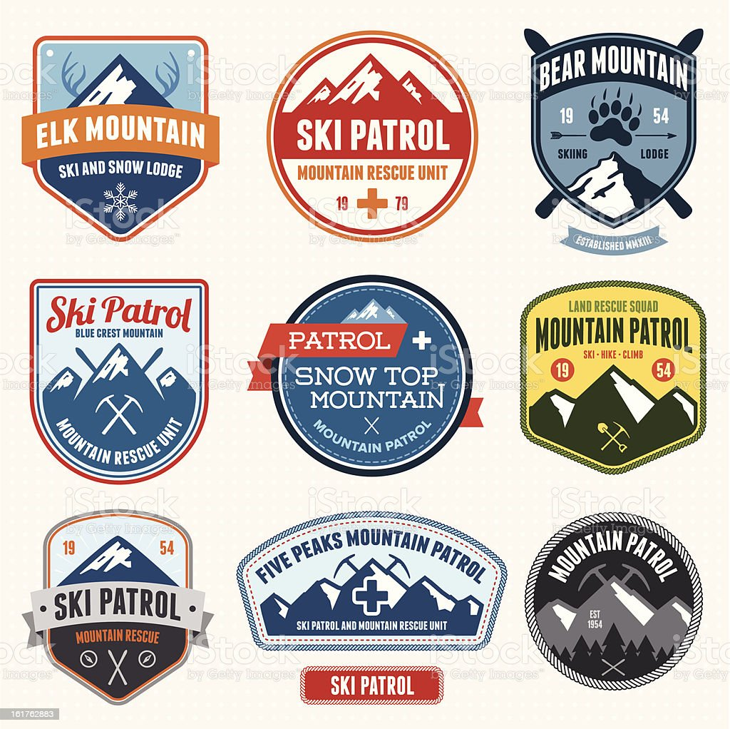 Ski badges vector art illustration