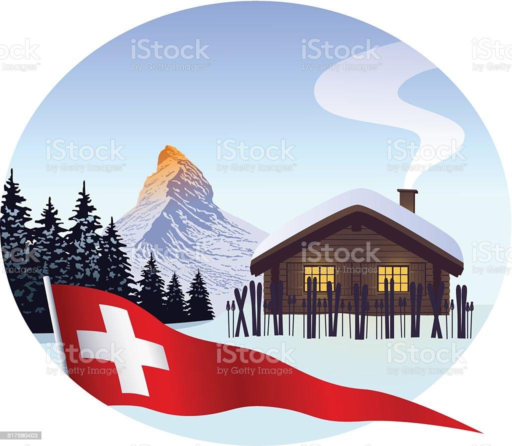 Ski cabin with Matterhorn and swiss pennant vector art illustration