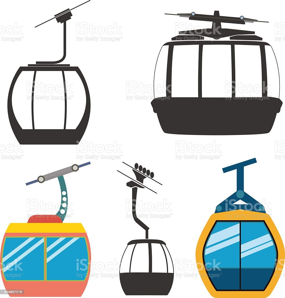 Ski cable car vector art illustration