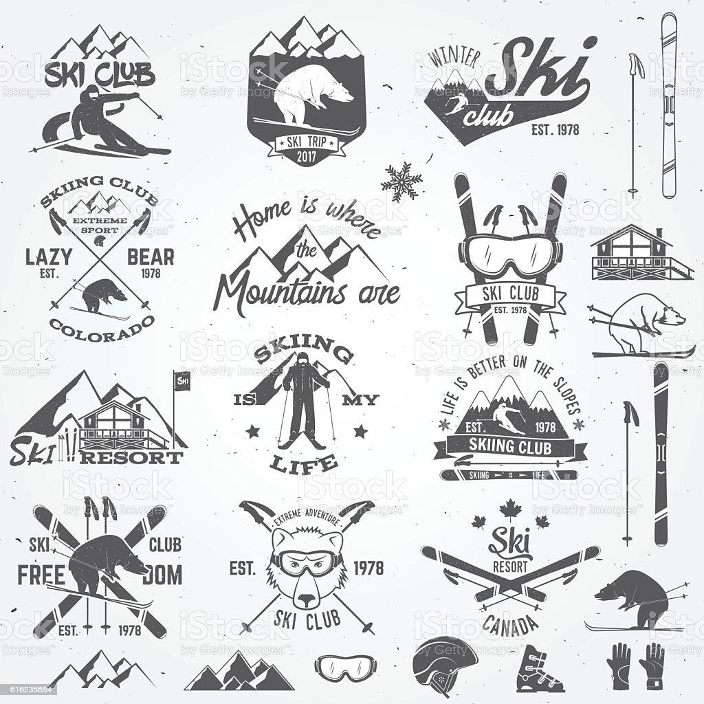 Ski club design. Vector illustration. vector art illustration