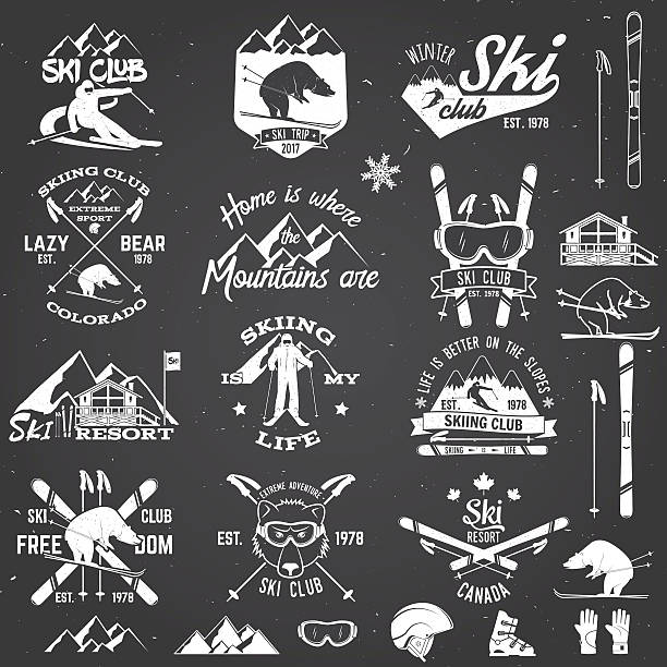 illustrations, cliparts, dessins animés et icônes de ski club design. vector illustration. - ski