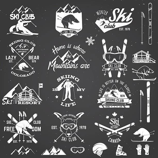 ski club design. vector illustration. - skifahren stock-grafiken, -clipart, -cartoons und -symbole