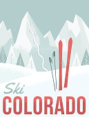 A retro-style illustration inspired by vintage ski posters.