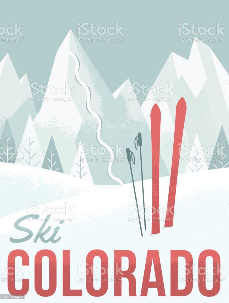 Ski Colorado vector art illustration