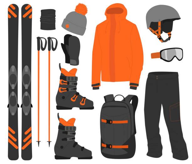 illustrations, cliparts, dessins animés et icônes de équipement de ski kit vêtements vecteur illustration sur fond transparent. sport d'hiver extrême. set skis et bâtons de ski. vacances, activité ou voyage équipement sport montagne froid loisirs. - homme slip