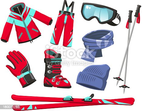 Ski Equipment Sport, with ski Jacket, ski Pants, ski Gloves, ski Boots, ski Scarf, ski Hat, ski goggles, ski poles, beanie. Vector illustration cartoon.