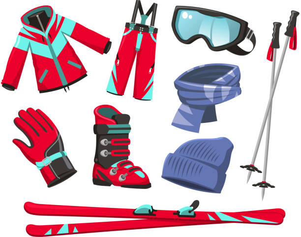 Skiausrüstung Sport Jacke, Hose, Schuhe, Schal, Handschuhe, Mütze Googles – Vektorgrafik